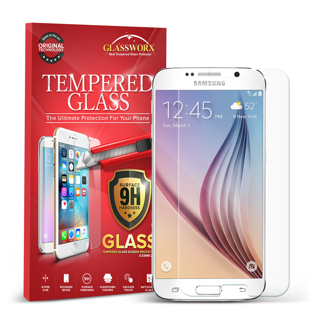 Samsung Galaxy S6 Clear GlassWorX HD Tempered Glass Screen Protector