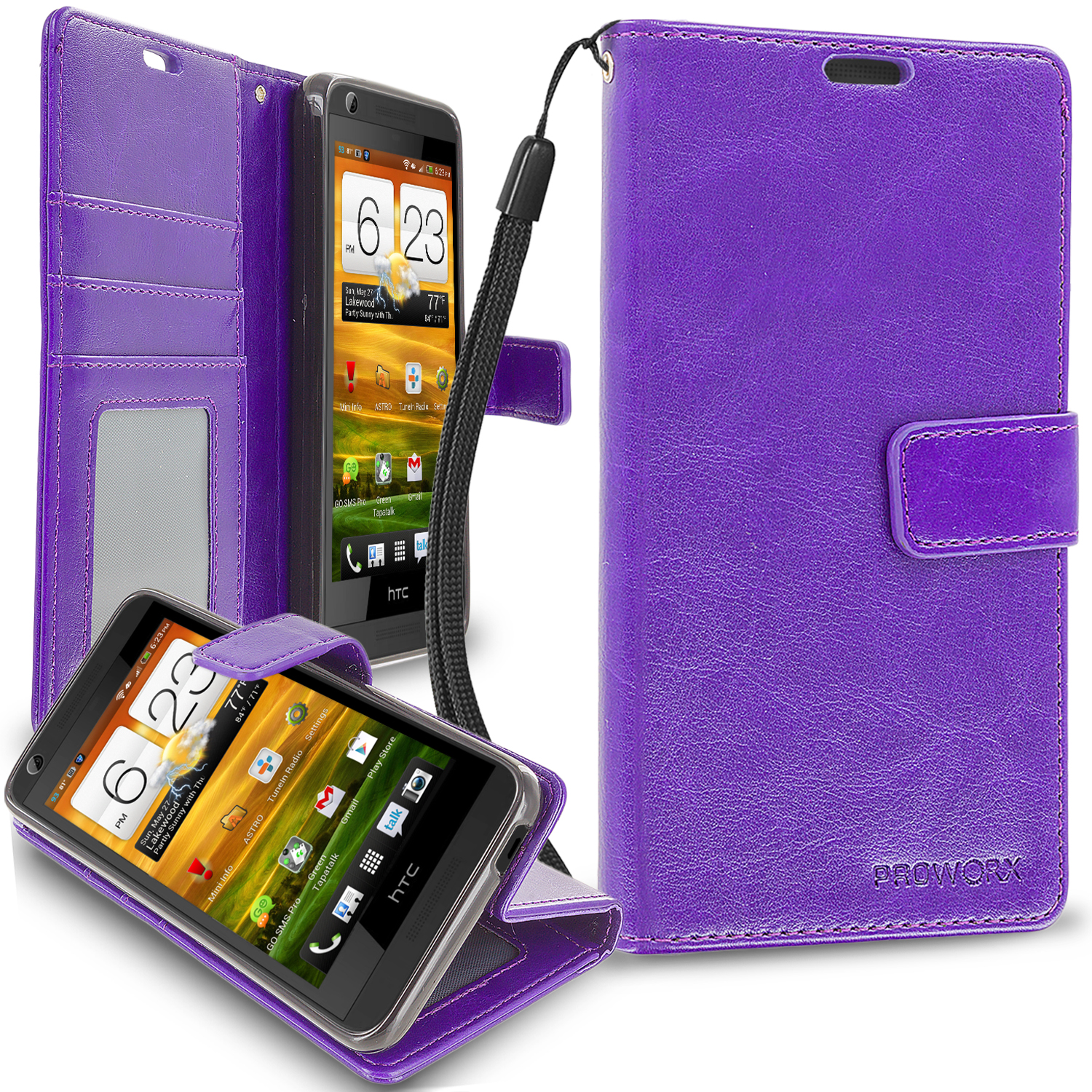 HTC Desire 626 / 626s Purple ProWorx Wallet Case Luxury PU Leather Case Cover With Card Slots & Stand