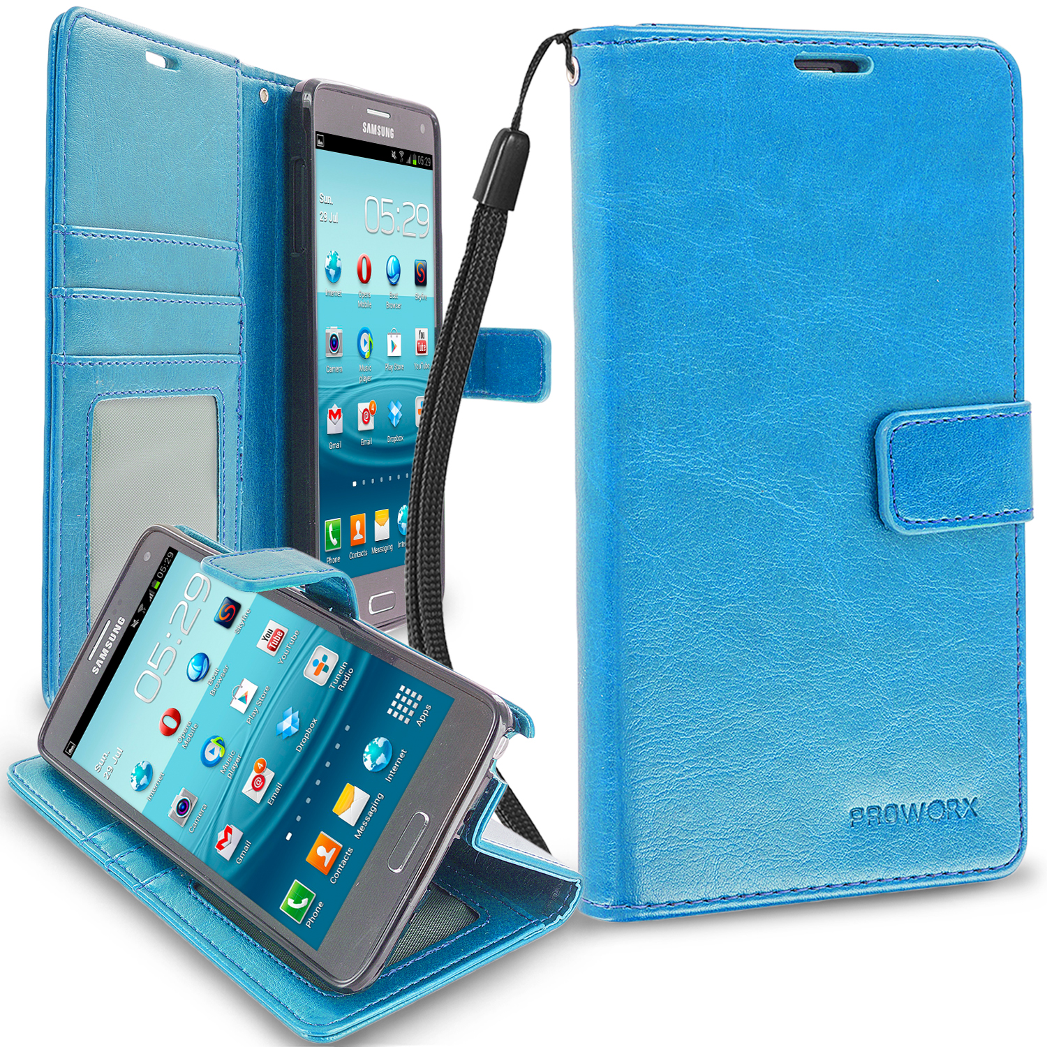 Samsung Galaxy Note 4 Baby Blue ProWorx Wallet Case Luxury PU Leather Case Cover With Card Slots & Stand