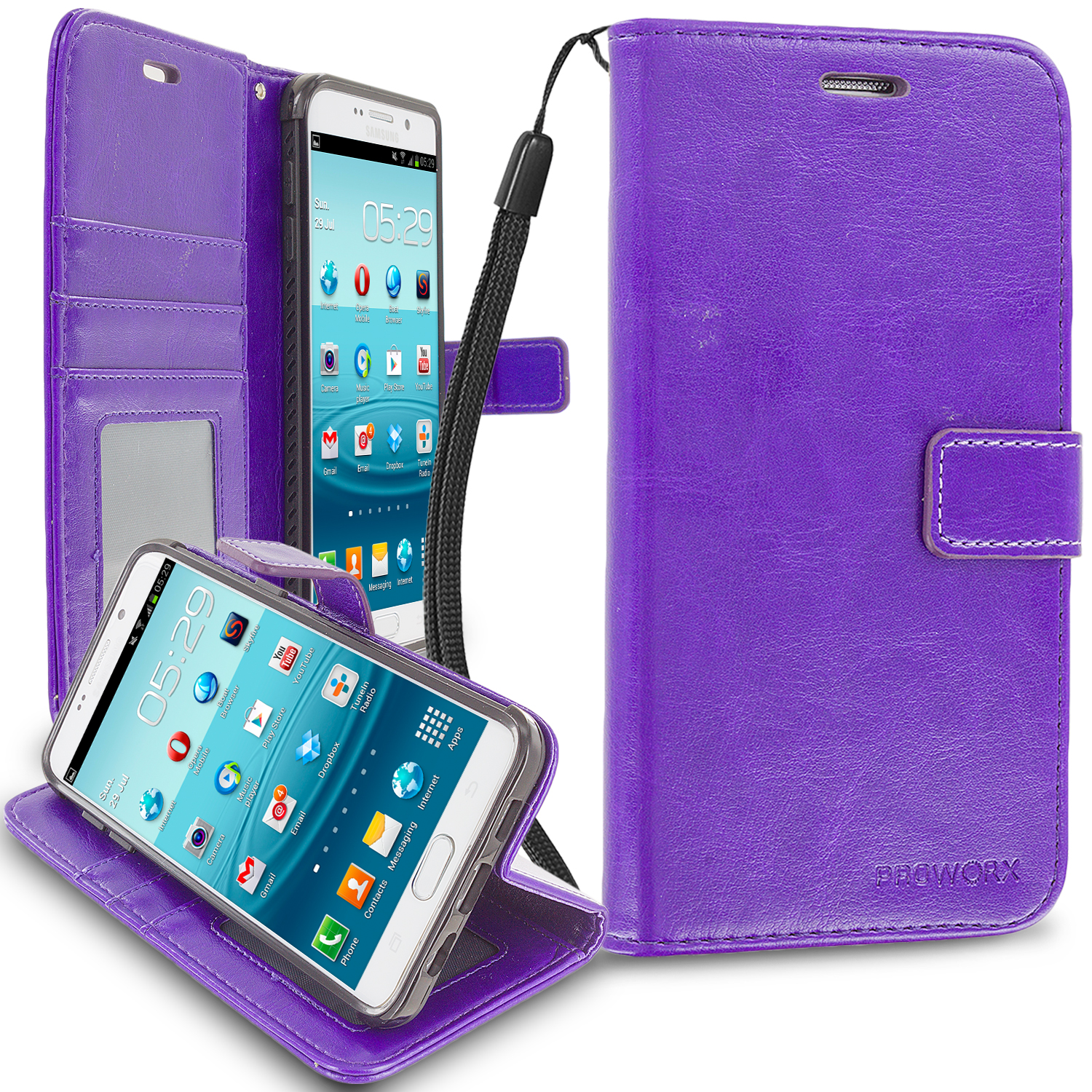Samsung Galaxy S6 Edge Purple ProWorx Wallet Case Luxury PU Leather Case Cover With Card Slots & Stand