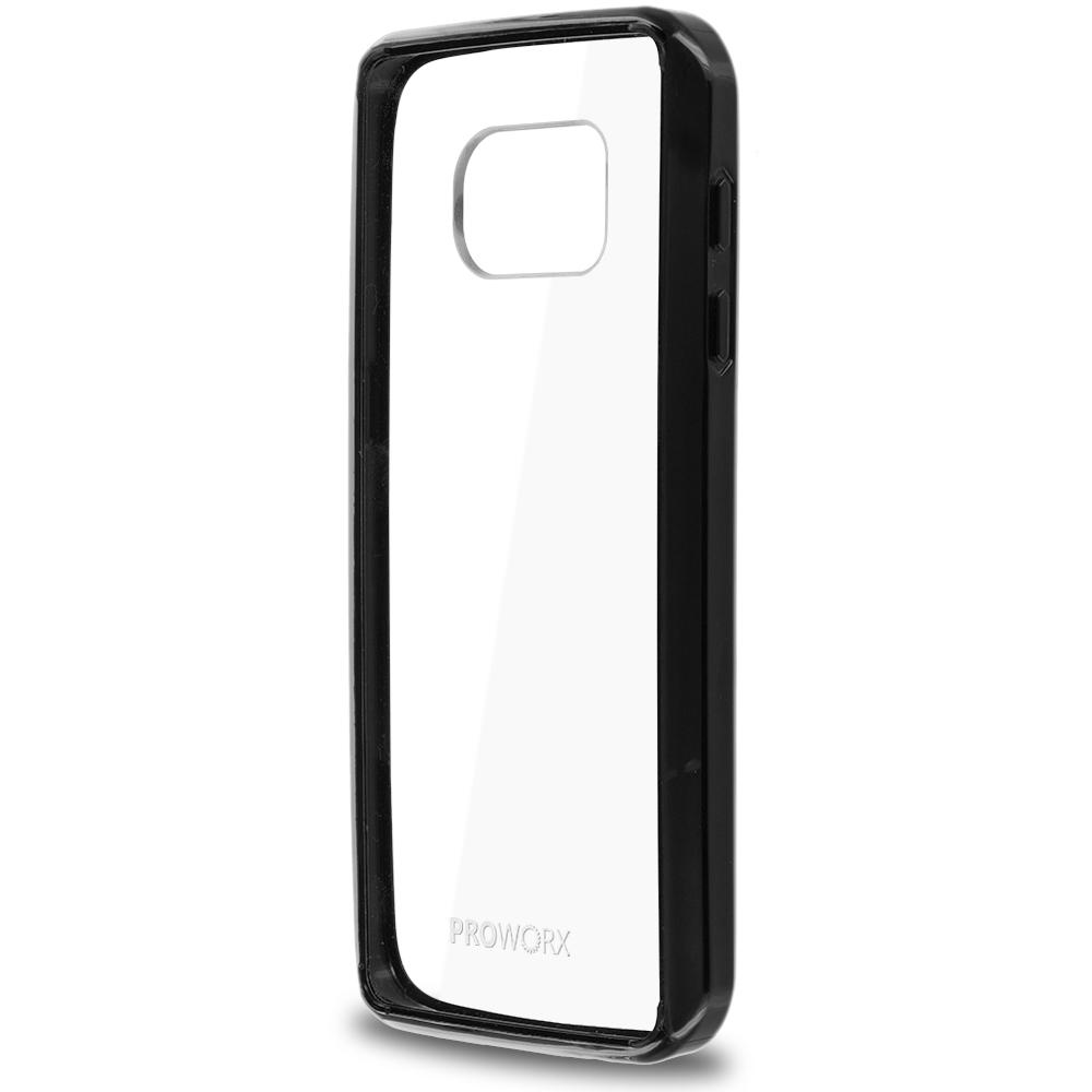 Samsung Galaxy S7 Edge Black ProWorx Shock Absorption Case Bumper TPU & Anti-Scratch Clear Back Cover