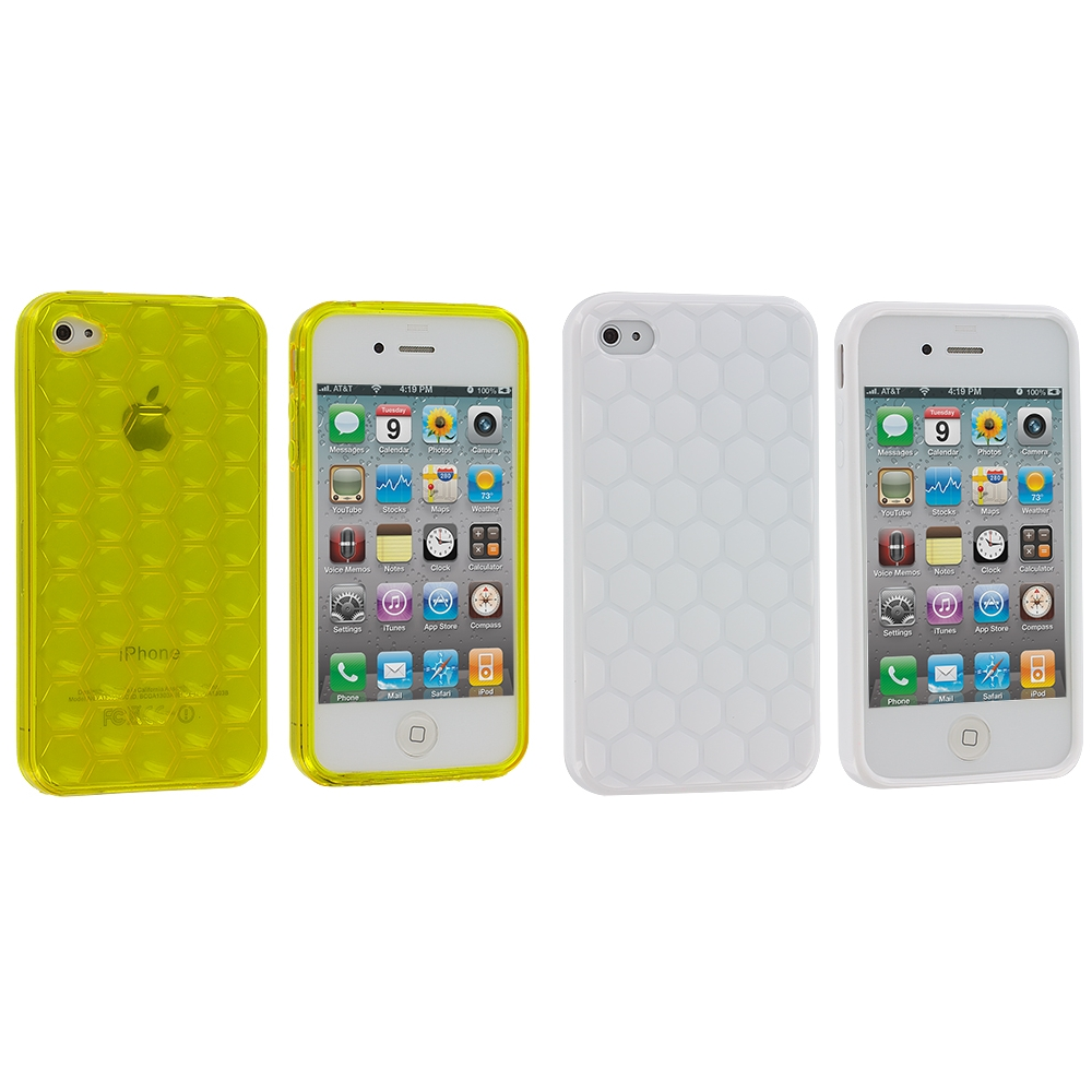 Apple iPhone 4 / 4S 2 in 1 Combo Bundle Pack - Yellow White Hexagon TPU Rubber Skin Case Cover