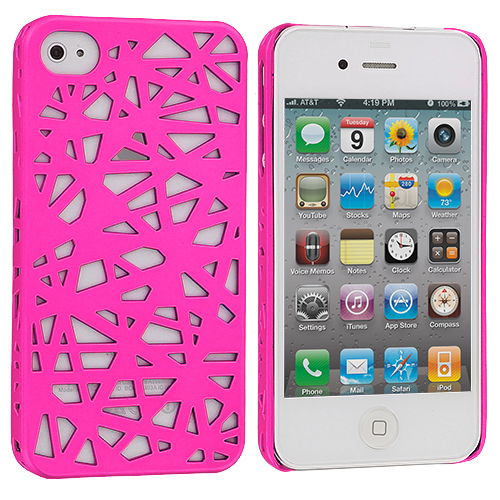 Apple iPhone 4 / 4S Hot Pink Birds Nest Hard Rubberized Back Cover Case