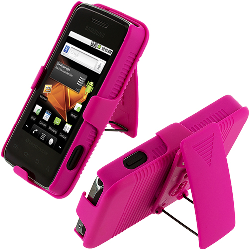 Samsung Galaxy Prevail M820 Hot Pink Hard Rubberized Belt Clip Holster Case Cover