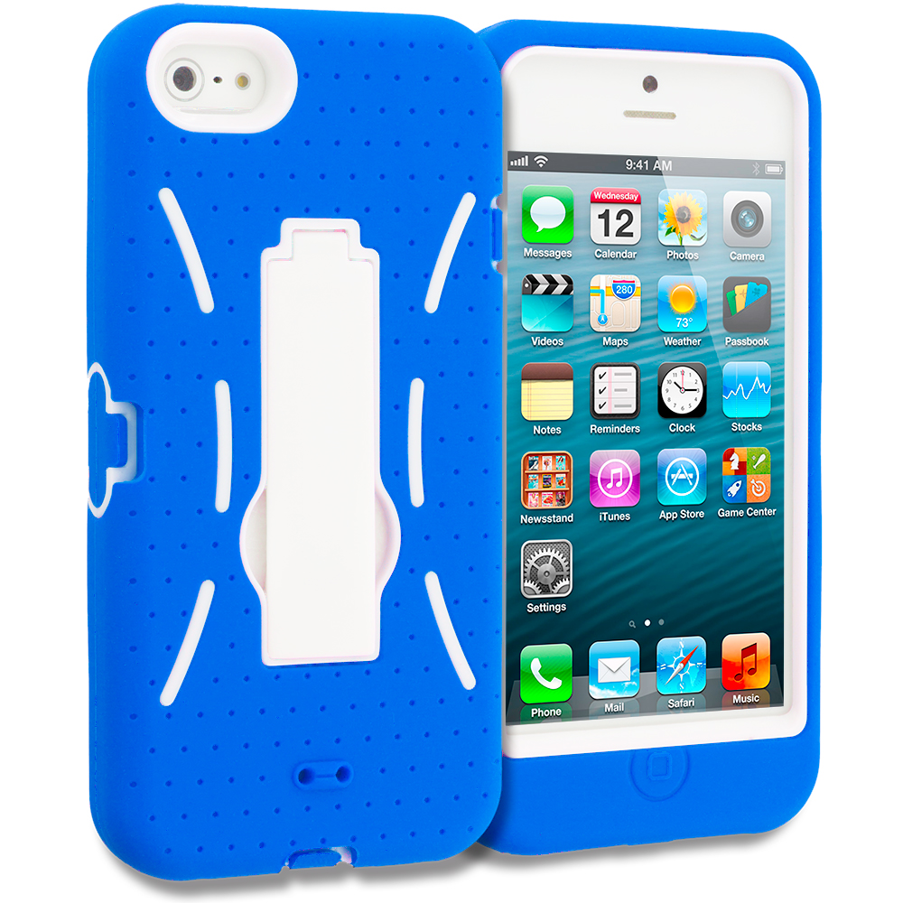 Apple iPhone 5/5S/SE Blue / White Hybrid Heavy Duty Hard/Soft Case Cover with Stand