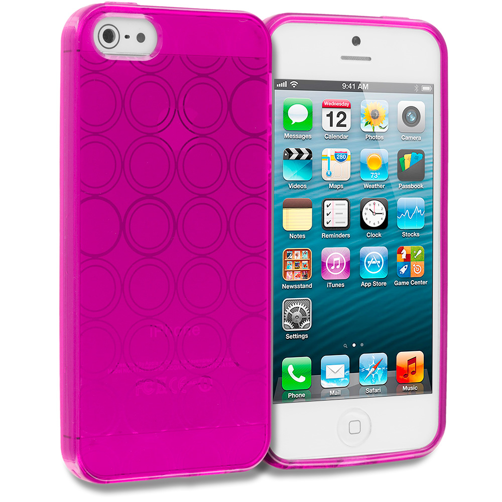 Apple iPhone 5/5S/SE Combo Pack : Hot Pink Circles TPU Rubber Skin Case Cover : Color Hot Pink Circles