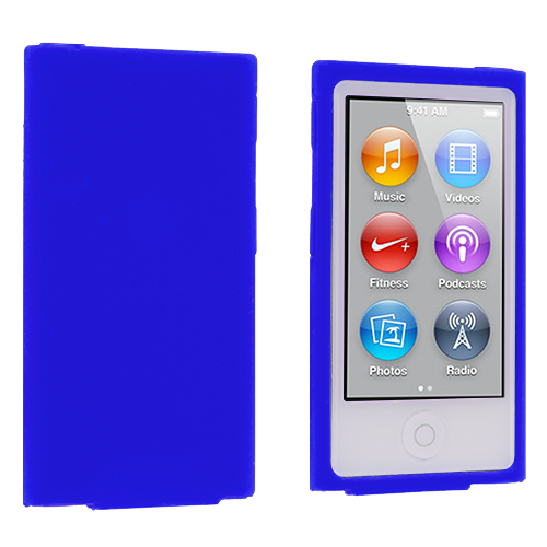 Apple iPod Nano 7th Generation Blue Silicone Soft Skin Case Cover