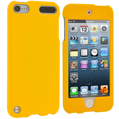 Apple iPod Touch 5th 6th Generation 2 in 1 Combo Bundle Pack - Yellow Pink (Covered) Hard Rubberized Case Cover : Color Yellow (Covered)