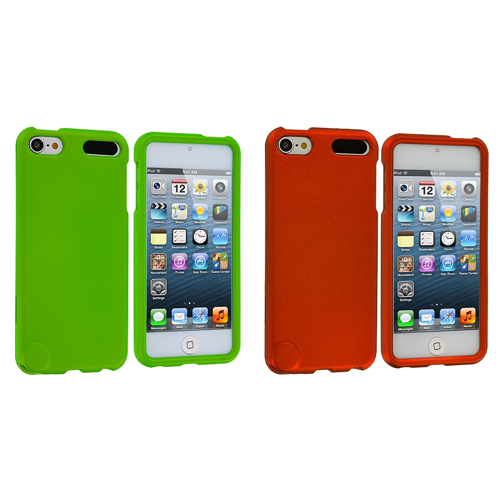 Apple iPod Touch 5th 6th Generation 2 in 1 Combo Bundle Pack - Neon Green Orange Hard Rubberized Case Cover