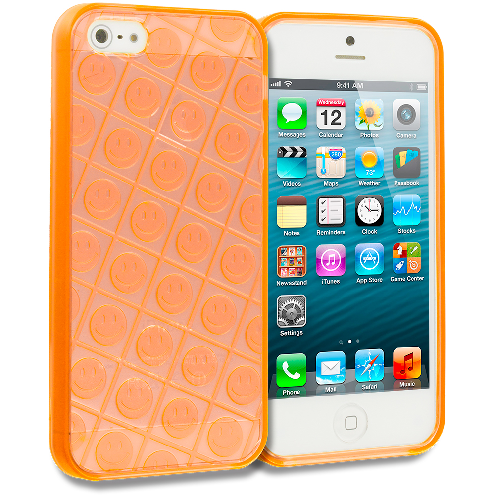 Apple iPhone 5 Combo Pack : Blue Happy Face TPU Rubber Skin Case Cover : Color Orange Happy Face