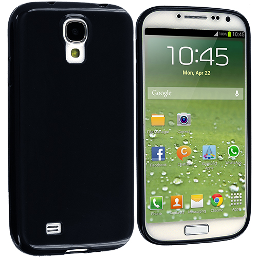 Samsung Galaxy S4 Black Solid TPU Rubber Skin Case Cover