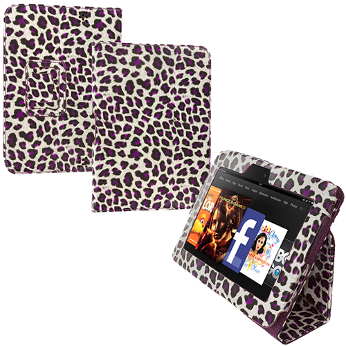 Amazon Kindle Fire HD 7 Purple Leopard Folio Pouch Case Cover Stand