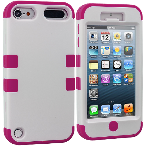 Apple iPod Touch 5th 6th Generation Hot Pink / White Hybrid Tuff Hard/Soft 3-Piece Case Cover