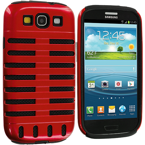 Samsung Galaxy S3 2 in 1 Combo Bundle Pack - Black / Red Hybrid Ribs Hard/Soft Case Cover : Color Black / Red