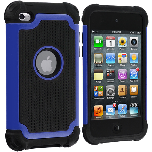Apple iPod Touch 4th Generation Blue Hybrid Rugged Hard/Soft Case Cover