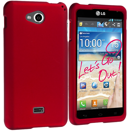 LG Spirit 4G MS870 Red Hard Rubberized Case Cover