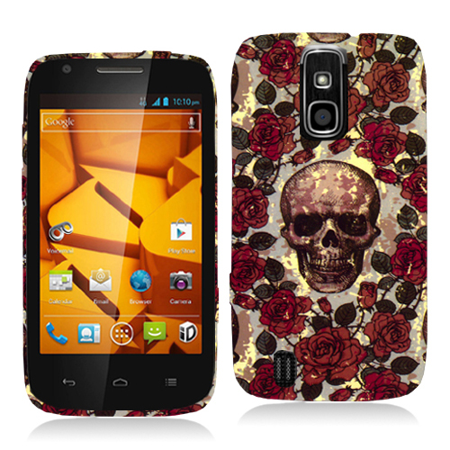 ZTE Force N9100 Gorgeous Skull Hard Rubberized Design Case Cover