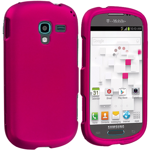 Samsung Galaxy Exhibit T599 Hot Pink Hard Rubberized Case Cover