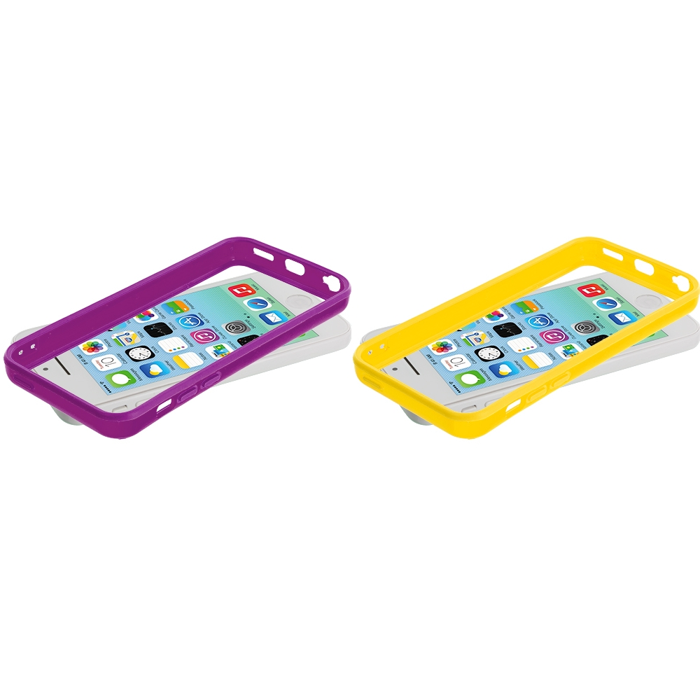 Apple iPhone 5C 2 in 1 Combo Bundle Pack - Purple Yellow Solid TPU Bumper with Metal Buttons