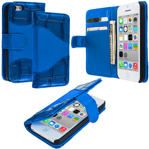 Apple iPhone 5C Blue Crocodile Leather Wallet Pouch Case Cover with Slots