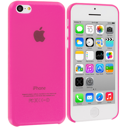 Apple iPhone 5C 3 in 1 Combo Bundle Pack - Hot Pink Yellow 0.3mm Crystal Hard Back Cover Case : Color Hot Pink 0.3mm