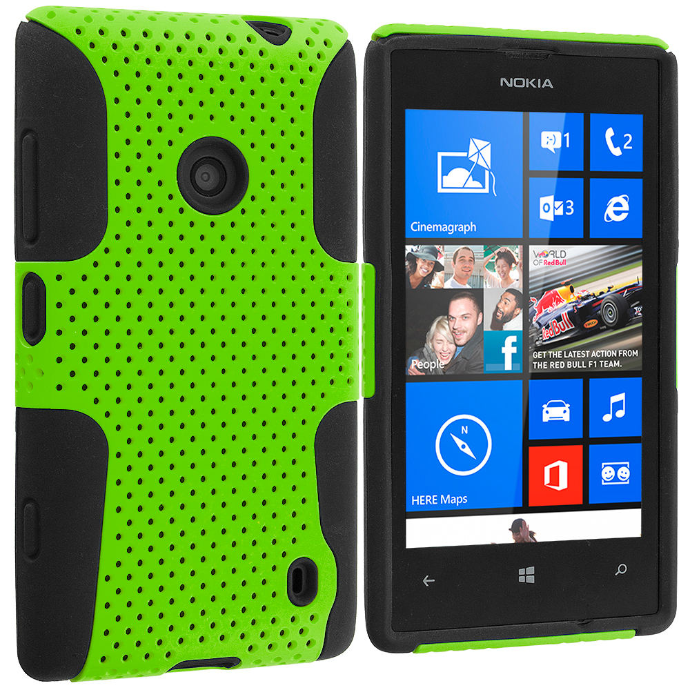 Nokia Lumia 520 Black / Neon Green Hybrid Mesh Hard/Soft Case Cover