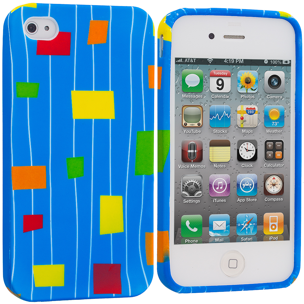 Apple iPhone 4 / 4S Baby Blue Square TPU Design Soft Case Cover