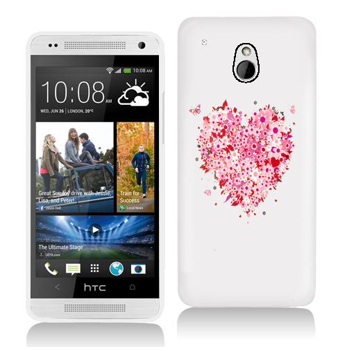 HTC One Mini Hearts Full of Flowers White Hard Rubberized Design Case Cover