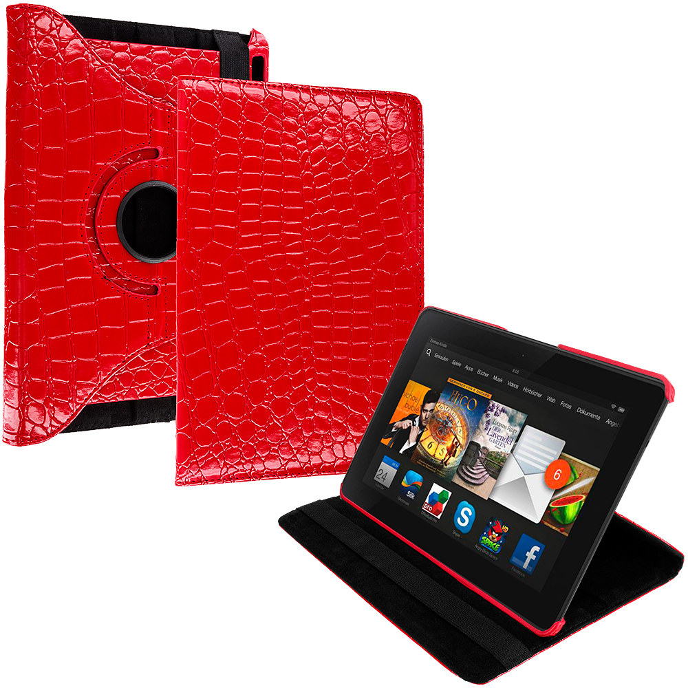 Amazon Kindle Fire HDX 7 Red Crocodile 360 Rotating Leather Pouch Case Cover Stand