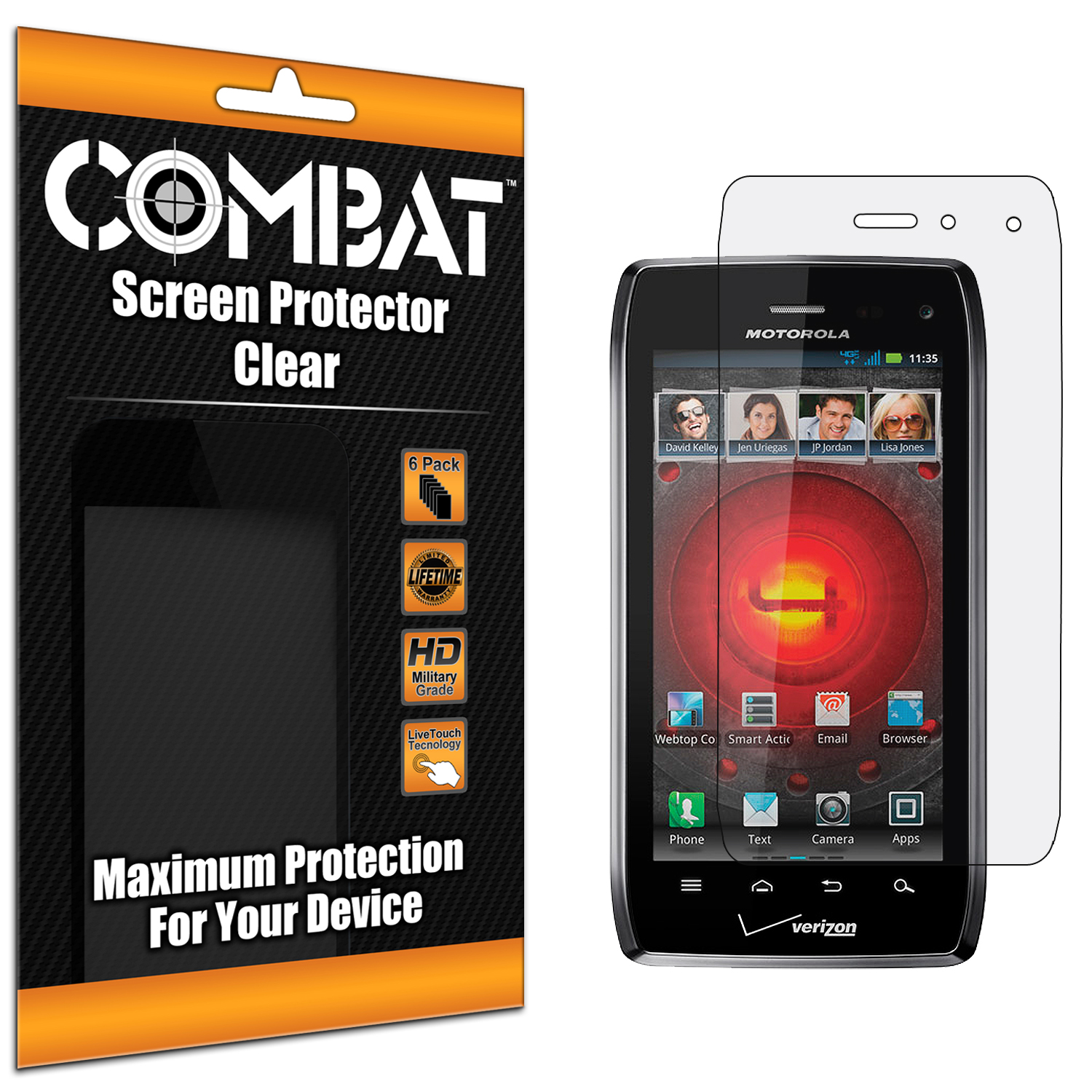 Motorola Droid 4 XT894 Combat 6 Pack HD Clear Screen Protector