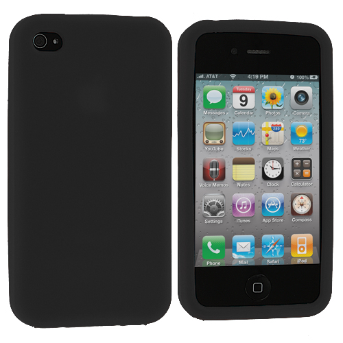 Apple iPhone 4 Black Silicone Soft Skin Case Cover