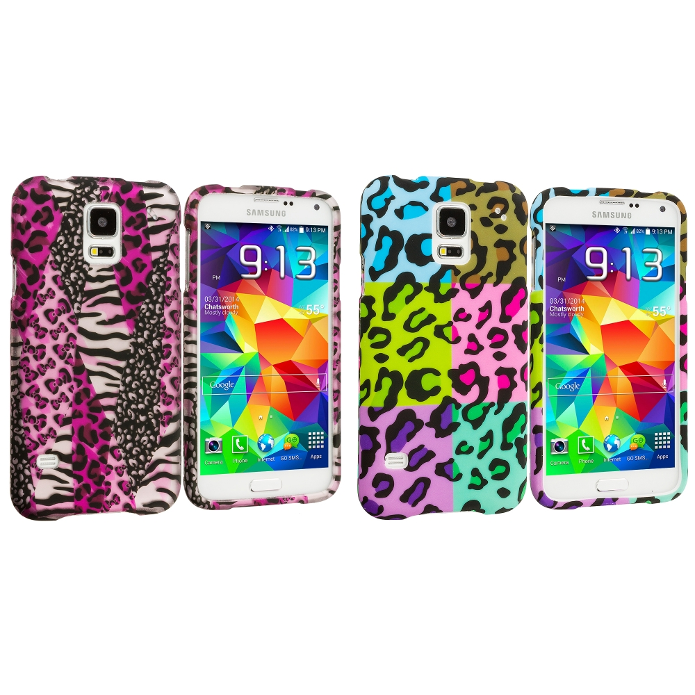 Samsung Galaxy S5 2 in 1 Combo Bundle Pack - Bowknot Zebra Leopard Hard Rubberized Design Case Cover