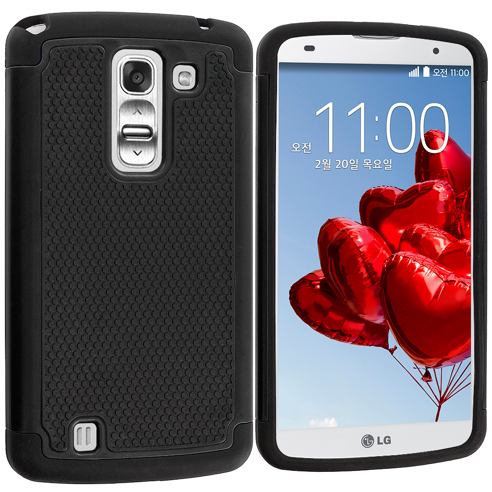 LG G Pro 2 Black / Black Hybrid Rugged Hard/Soft Case Cover