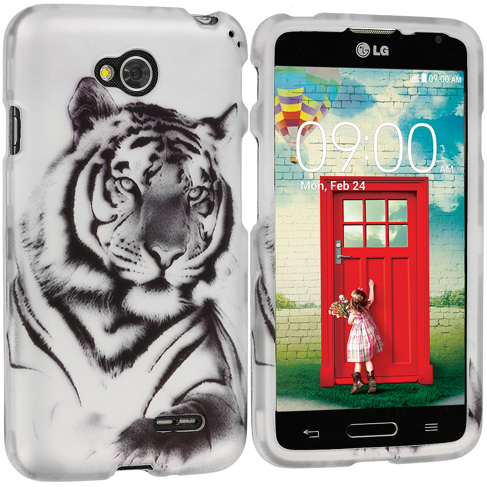 LG Optimus L70 Exceed 2 Realm LS620 Tiger 2D Hard Rubberized Design Case Cover