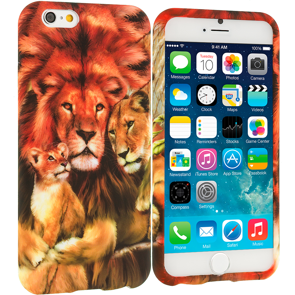 Apple iPhone 6 6S (4.7) 11 in 1 Combo Bundle Pack - TPU Design Soft Rubber Case Cover : Color Lion Family