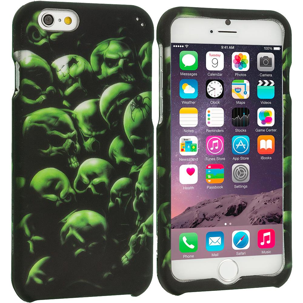 Apple iPhone 6 Plus 6S Plus (5.5) Green Skulls 2D Hard Rubberized Design Case Cover