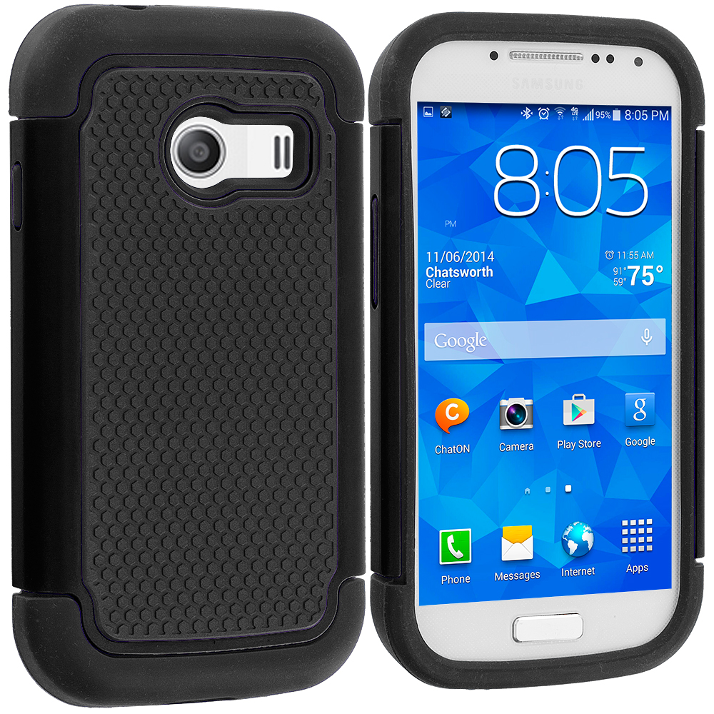 Samsung Galaxy Ace Style S765C Black / Black Hybrid Rugged Grip Shockproof Case Cover