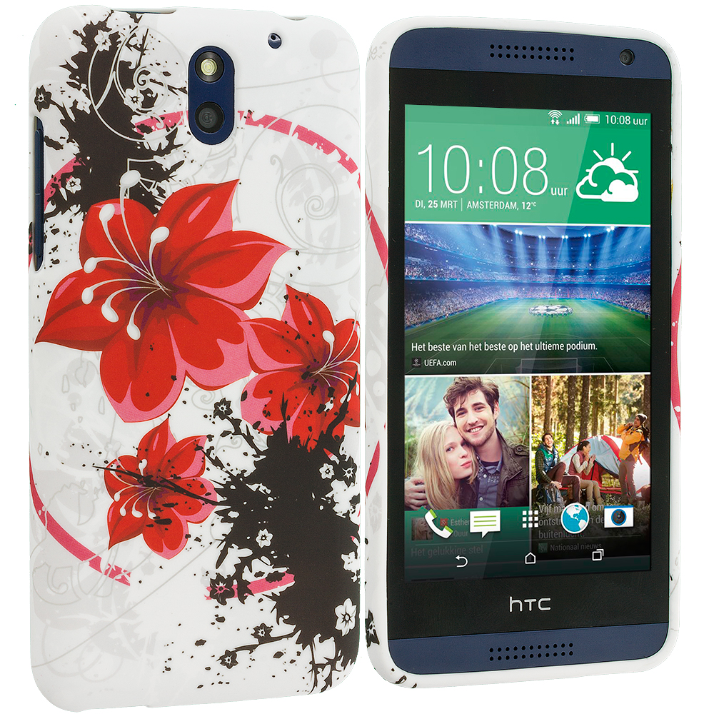HTC Desire 610 Red Flower TPU Design Soft Rubber Case Cover