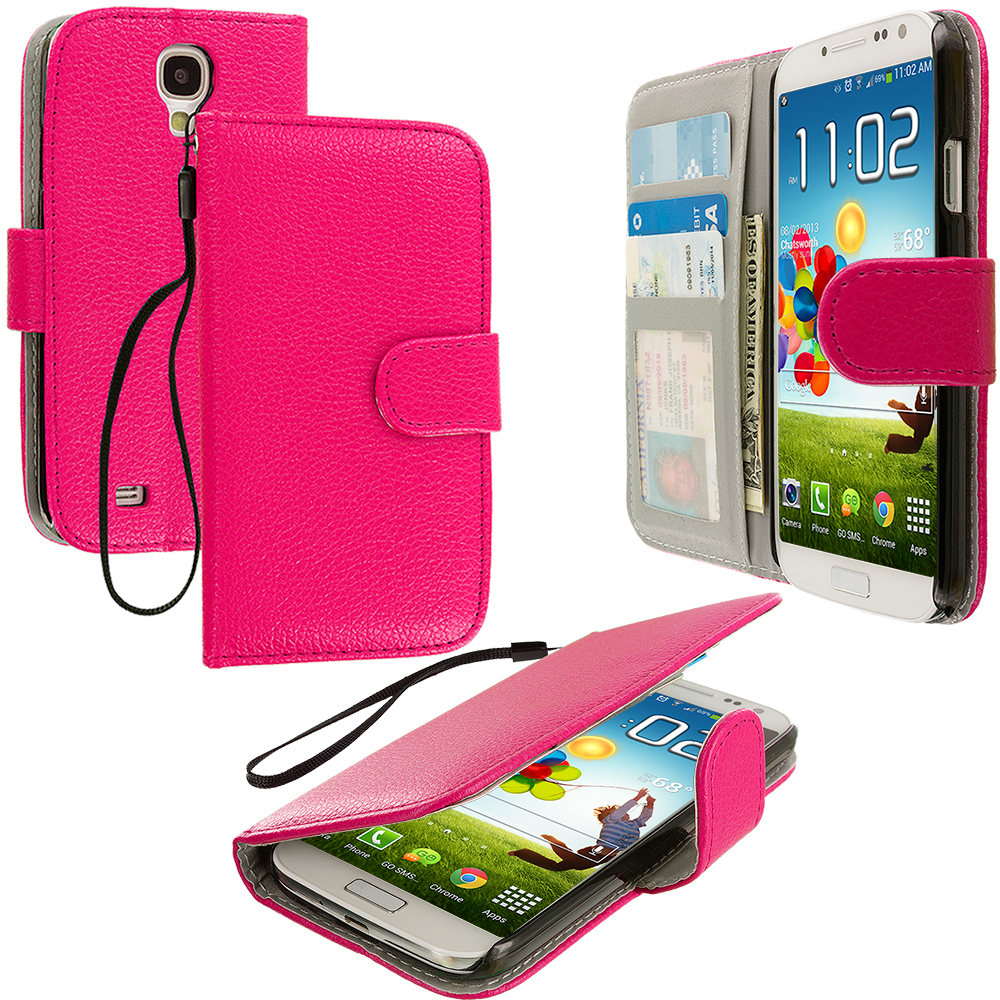 Samsung Galaxy S4 Hot Pink Leather Wallet Pouch Case Cover with Slots