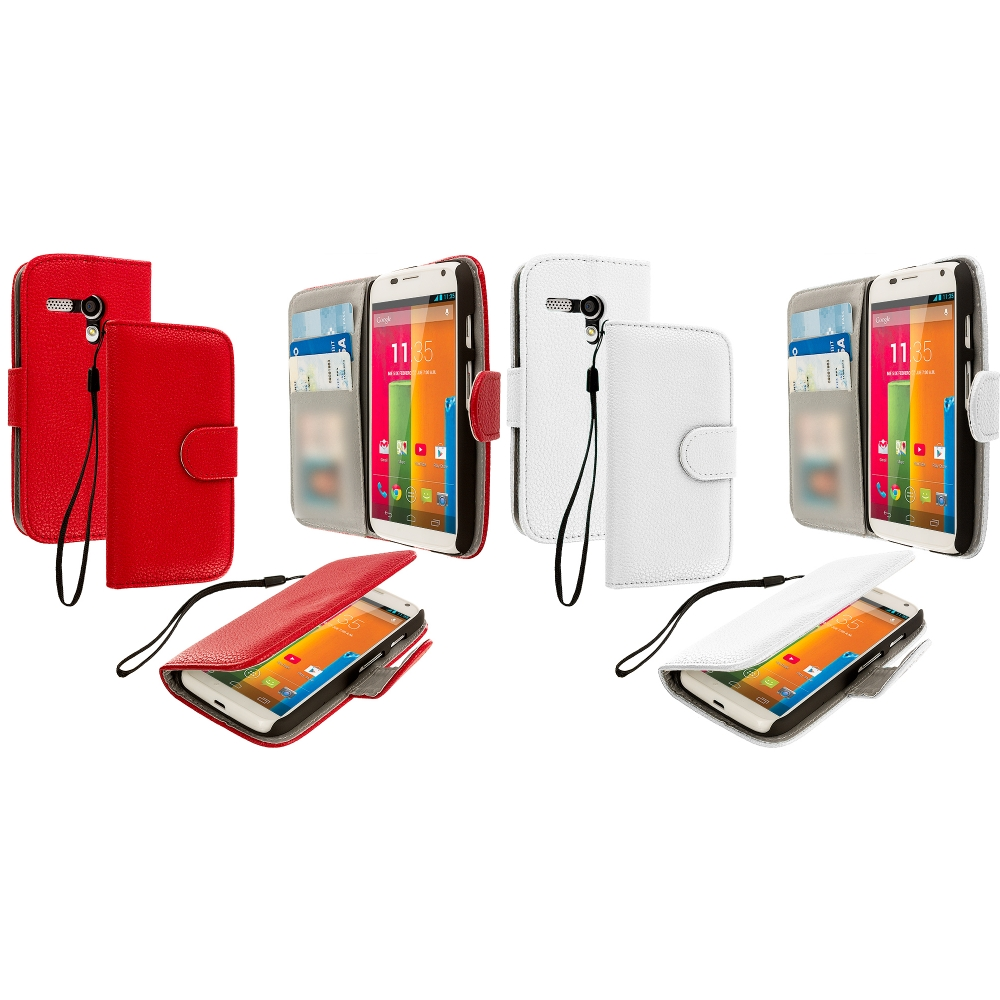 Motorola Moto G 2 in 1 Combo Bundle Pack - Red White Leather Wallet Pouch Case Cover with Slots