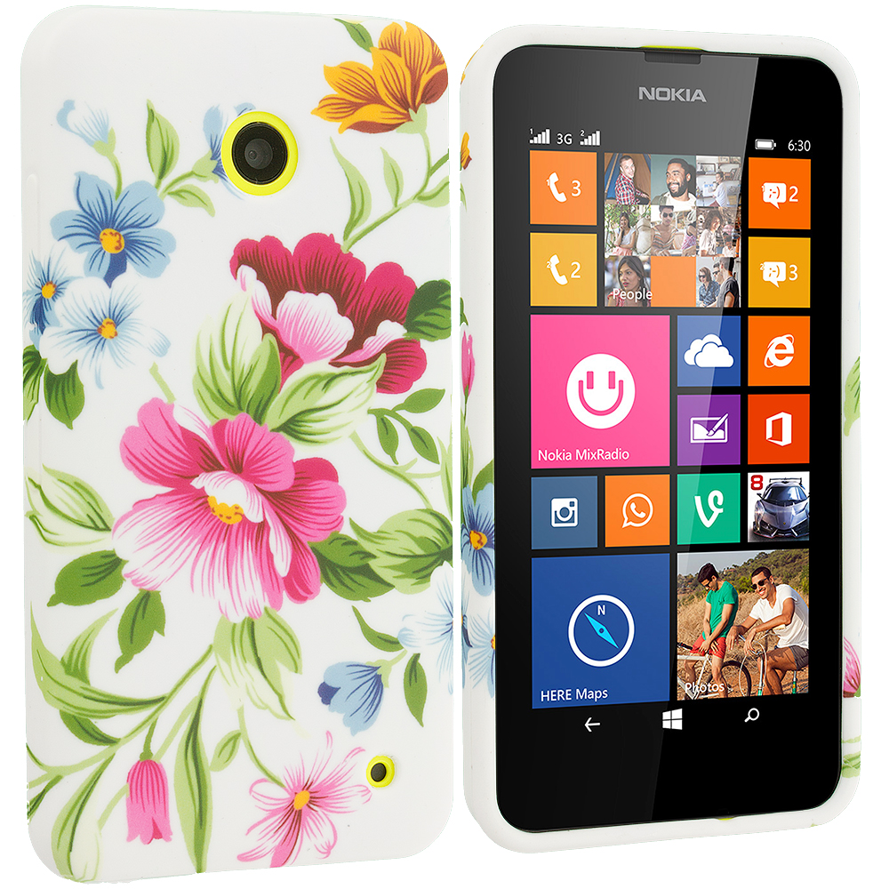 Nokia Lumia 630 635 Flower Painting TPU Design Soft Rubber Case Cover