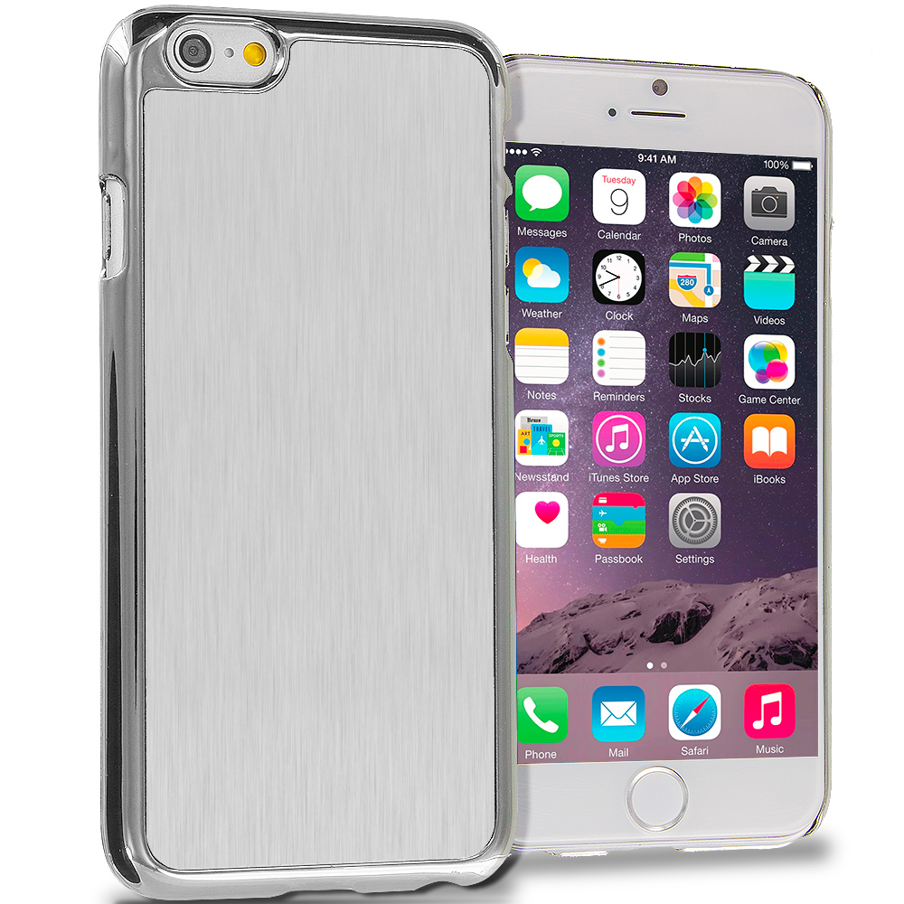 Apple iPhone 6 6S (4.7) 6 in 1 Combo Bundle Pack - Aluminum Metal Hard Case Cover : Color Silver Brushed