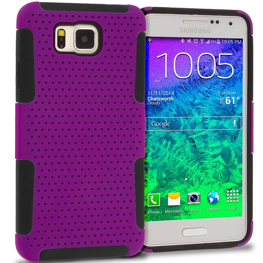 Samsung Galaxy Alpha G850 Black / Purple Hybrid Mesh Hard/Soft Case Cover