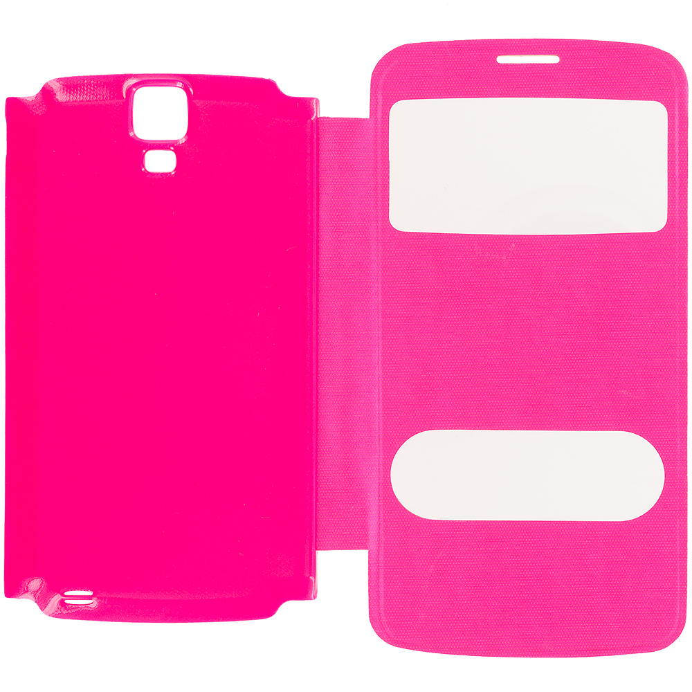 Samsung Galaxy S4 Active i537 Hot Pink Battery Door Rear Replacement Ultra Slim Wallet Flip Case Cover