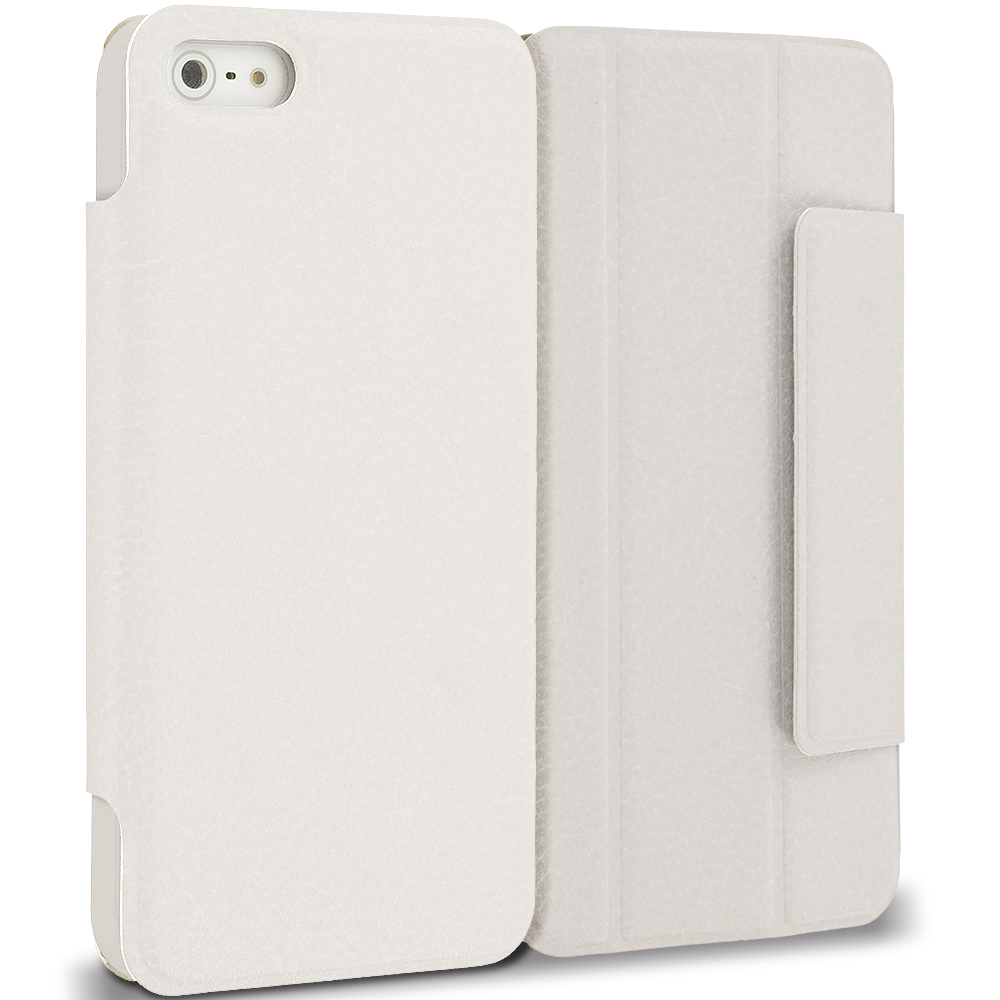 Apple iPhone 5/5S/SE Combo Pack : Purple Tri-Fold Leather Wallet Case Cover Pouch : Color White