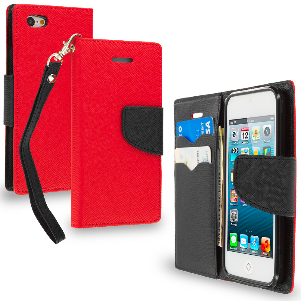 Apple iPod Touch 5th 6th Generation Red / Black Leather Flip Wallet Pouch TPU Case Cover with ID Card Slots