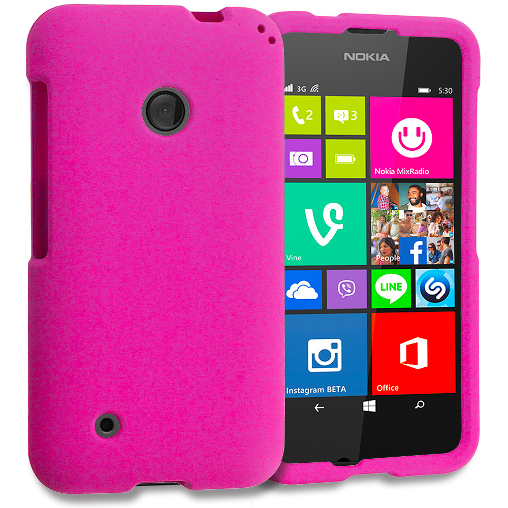 Nokia Lumia 530 Hot Pink Hard Rubberized Case Cover