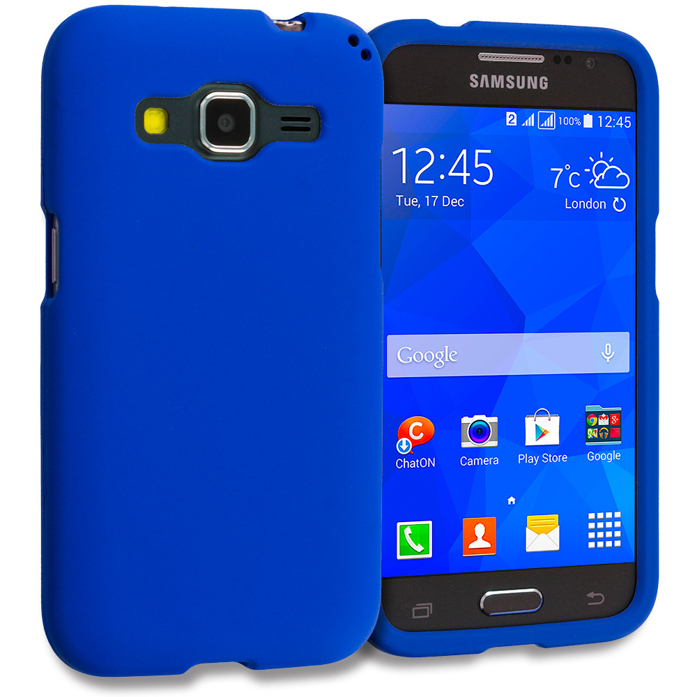 Samsung Galaxy Prevail LTE Core Prime G360P / Prevail LTE Blue Hard Rubberized Case Cover