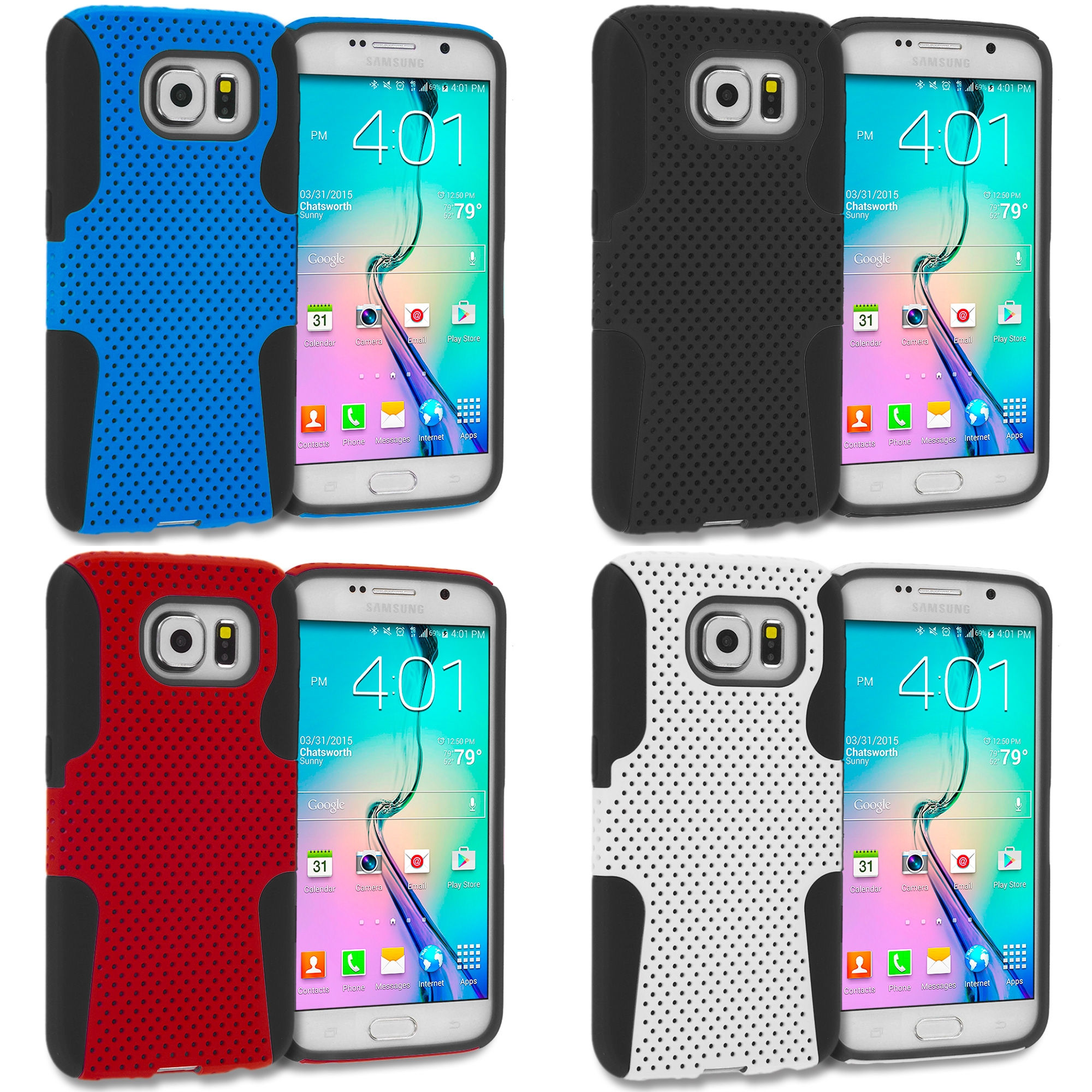Samsung Galaxy S6 4 in 1 Combo Bundle Pack - Hybrid Mesh Hard/Soft Case Cover
