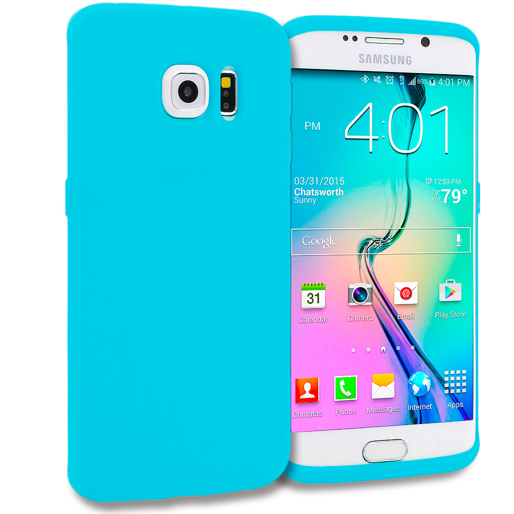 Samsung Galaxy S6 Edge 4 in 1 Combo Bundle Pack - Silicone Soft Skin Rubber Case Cover : Color Baby Blue